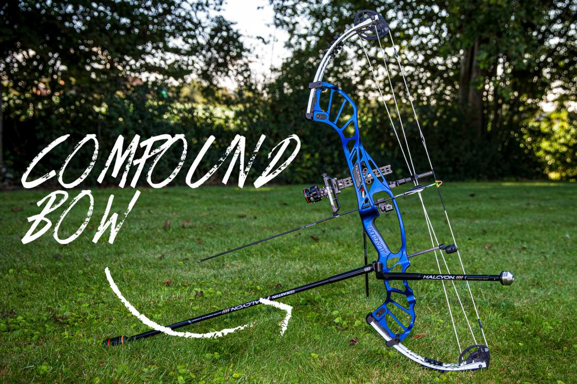 Annotated picture of a compound bow.