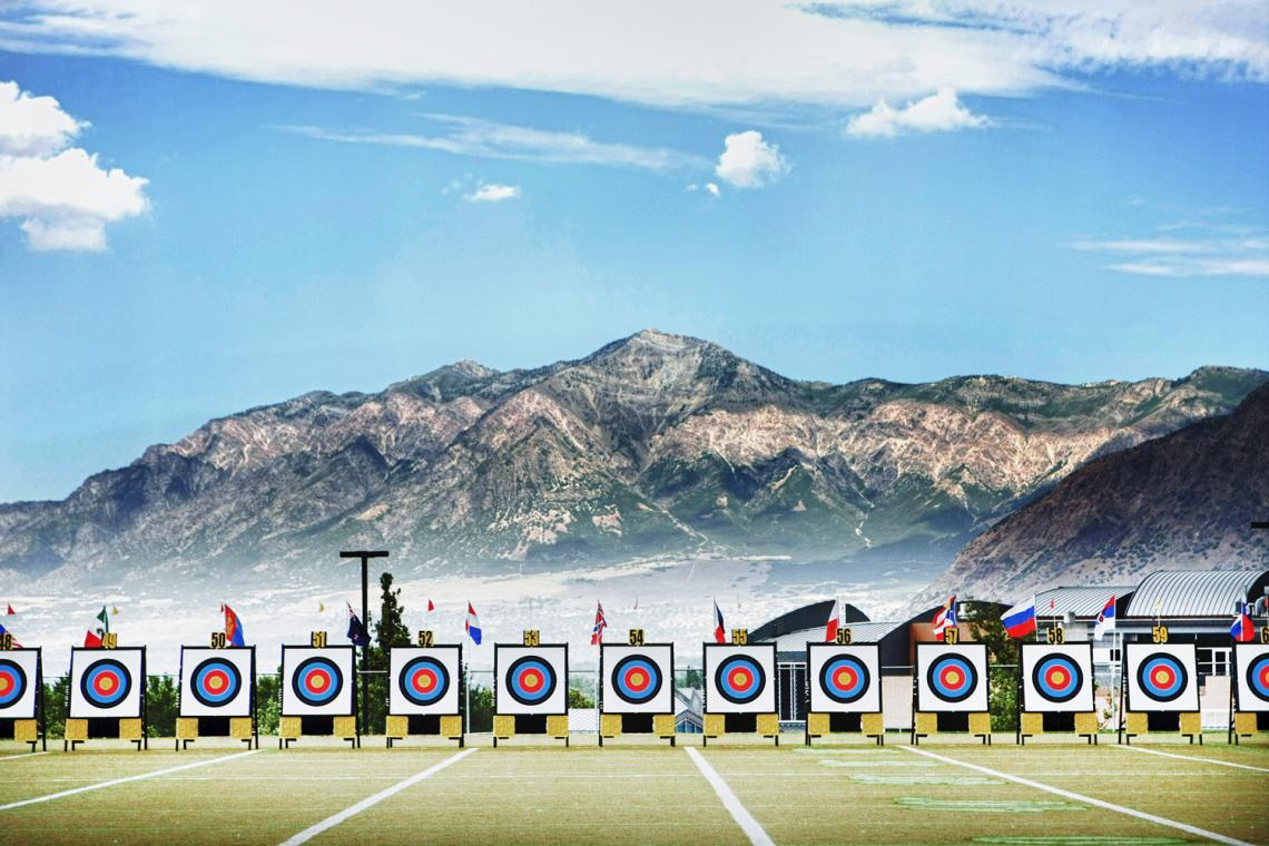 Targets in front of mountains in Odgen.