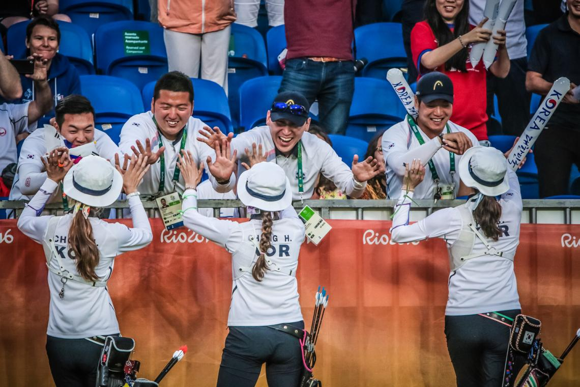 Korean recurve women celebrate winning the Rio 2016 Olympic Games.