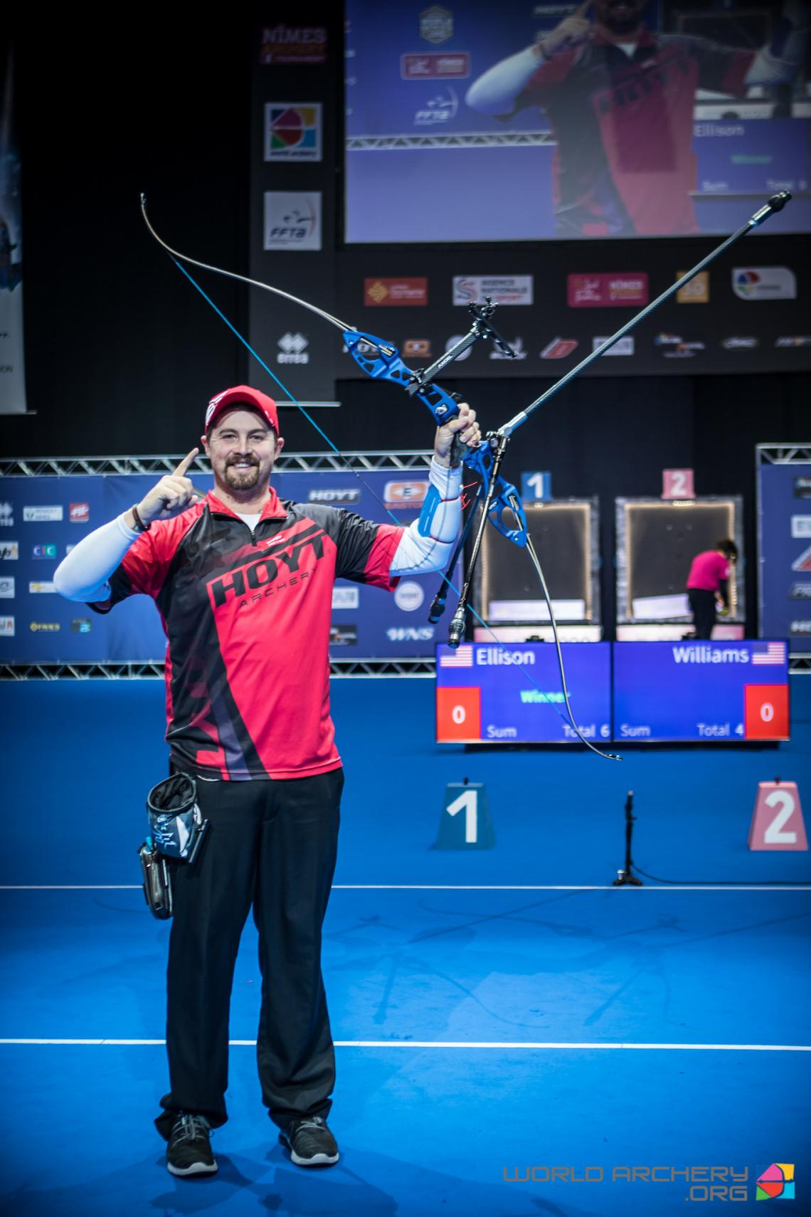 Brady Ellison celebrates after winning gold at the Sud de France – Nimes Archery Tournament in 2020.