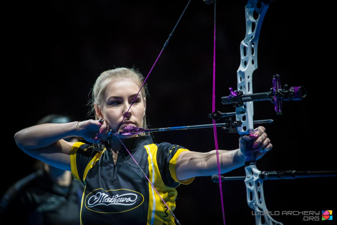 Lisell Jaatma shoots her way to gold at the Sud de France – Nimes Archery Tournament in 2020.