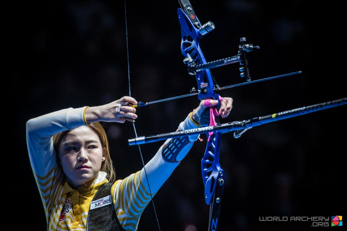 Sim Yeji shoots her way to gold at the Sud de France – Nimes Archery Tournament in 2020.