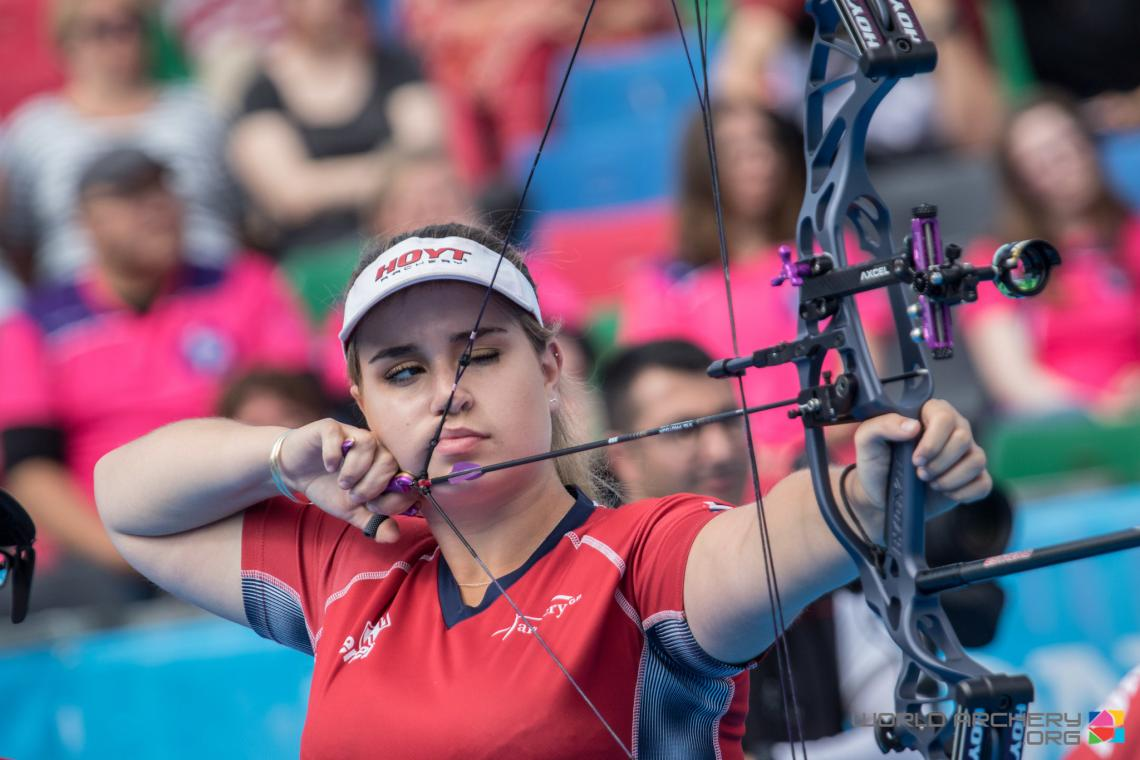 Ella Gibson shoots during the fourth stage of the Hyundai Archery World Cup in 2019.
