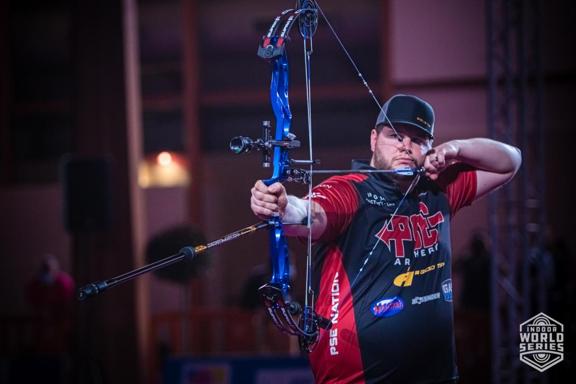 Jean Philippe Boulch aims during the finals at the Sud de France – Nimes Archery Tournament in 2021.