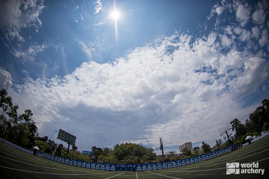 A fish-eye shot of the field at the first stage of the 2021 Hyundai Archery World Cup in Guatemala City.