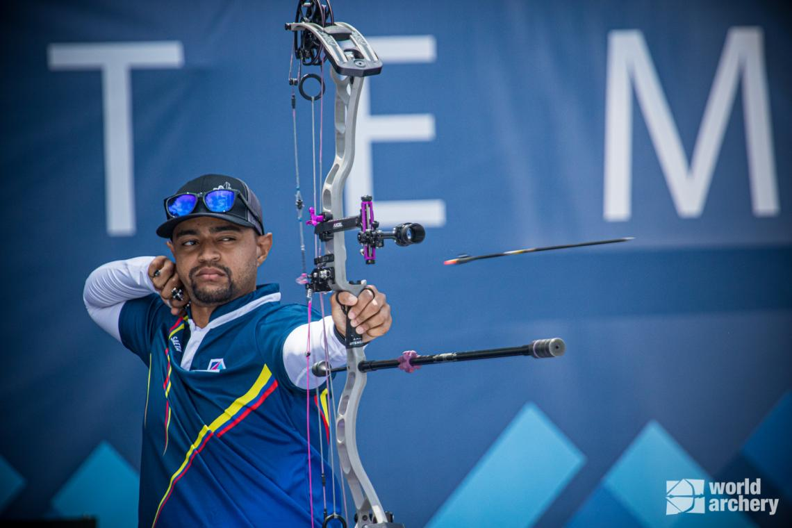 Juan Fernando Bonilla shoots during finals at the first stage of the 2021 Hyundai Archery World Cup in Guatemala City.