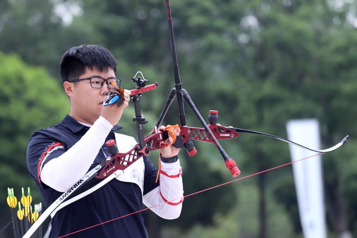 Wang Dapeng shoots during Chinese trials for the Tokyo 2020 Olympic Games.