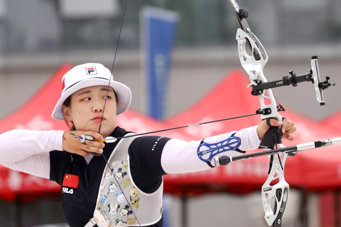 Wu Jiaxin shoots during Chinese trials for the Tokyo 2020 Olympic Games.