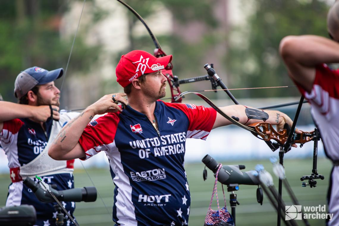 Brady Ellison shoots during qualification at the first stage of the 2021 Hyundai Archery World Cup in Guatemala City.