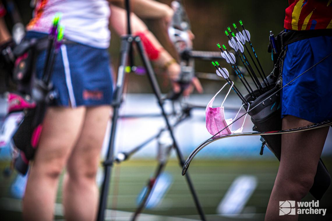 A close-up of archers on the line at the first stage of the 2021 Hyundai Archery World Cup in Guatemala City.