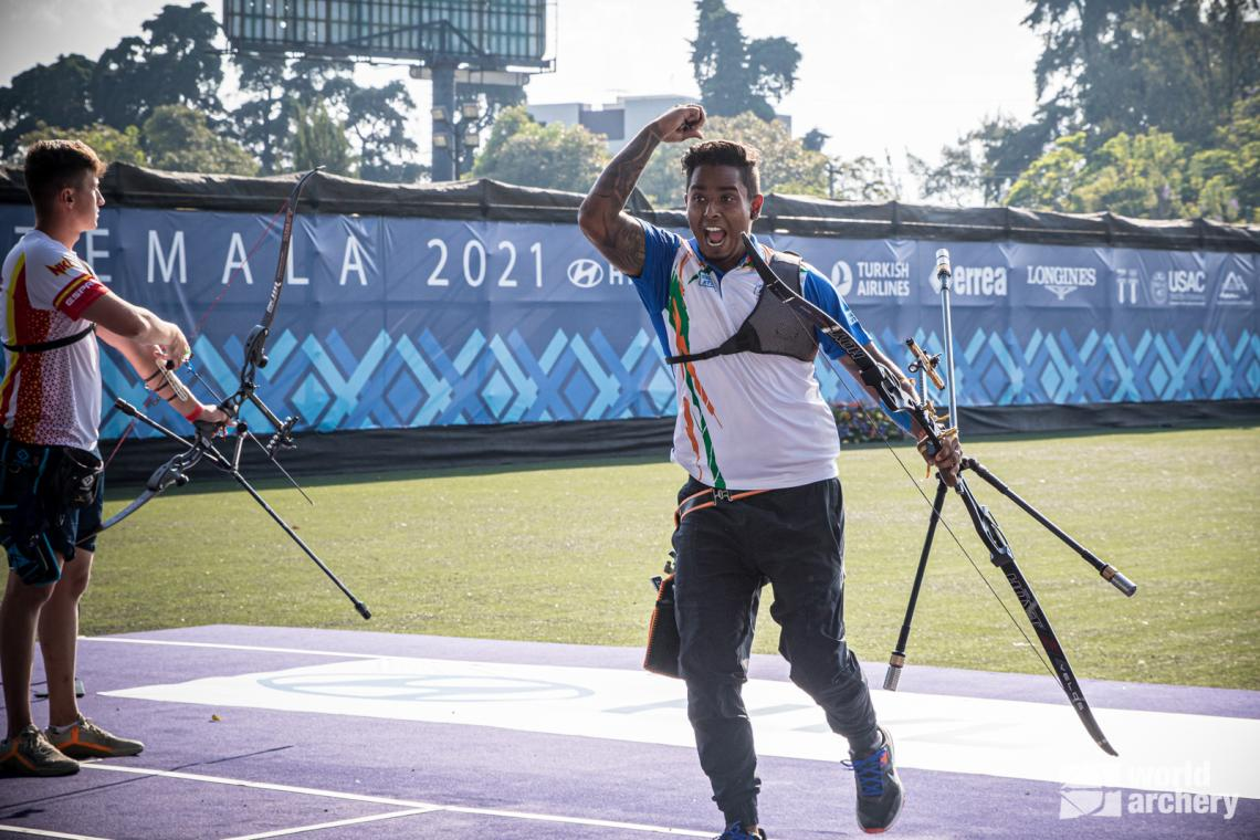 Atanu Das celebrates individual gold at the first stage of the 2021 Hyundai Archery World Cup in Guatemala City.