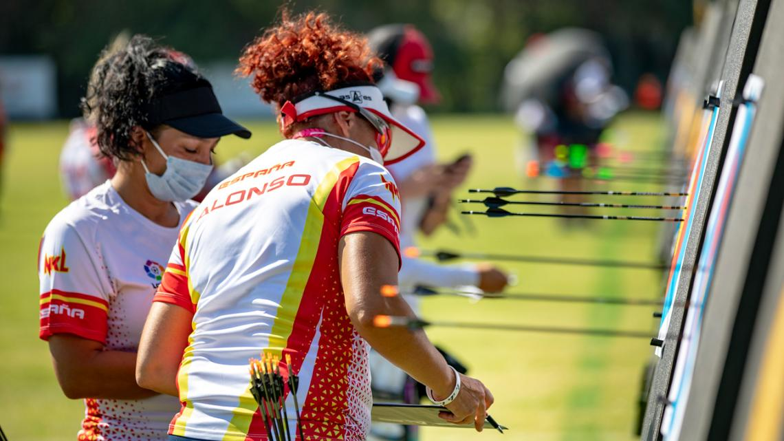 Archers score during a world ranking event in Antalya in 2020.