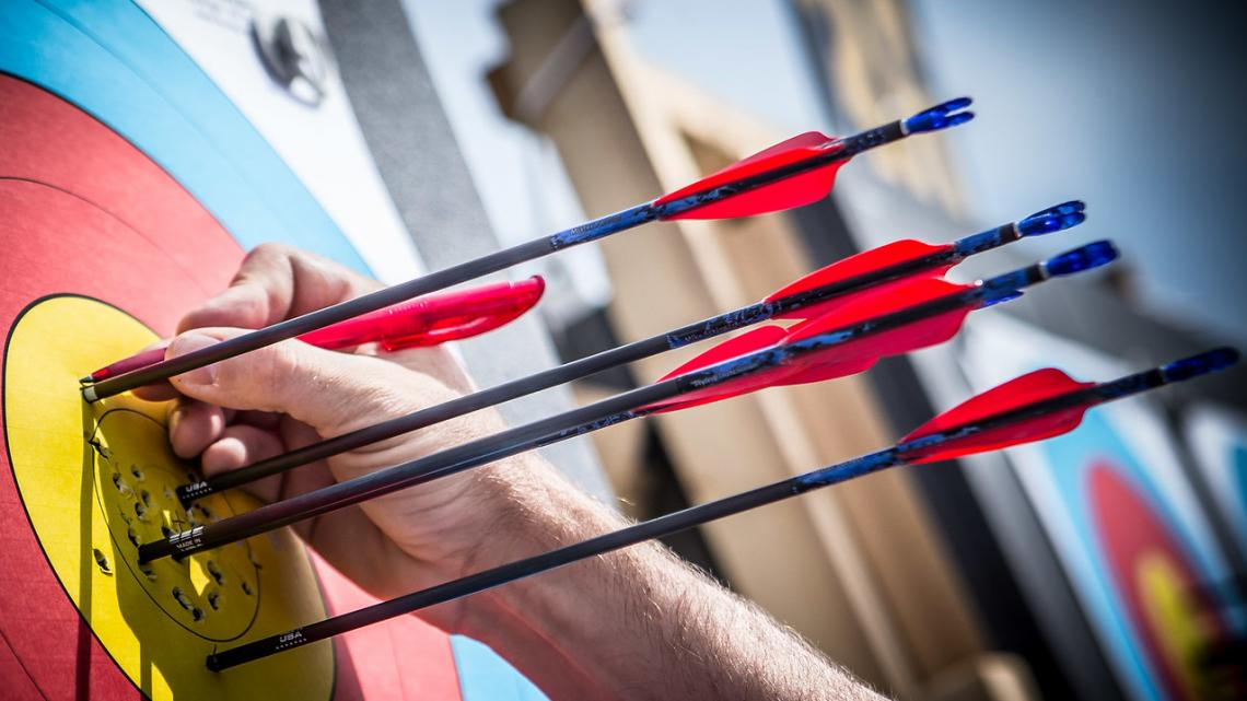 Arrows in a compound target at 50 metres.