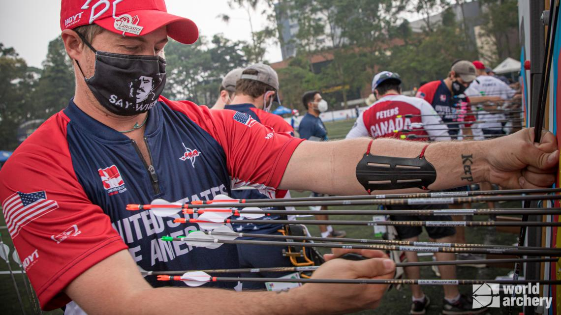 Brady Ellison pulls his arrows during qualification at the first stage of the 2021 Hyundai Archery World Cup in Guatemala City.
