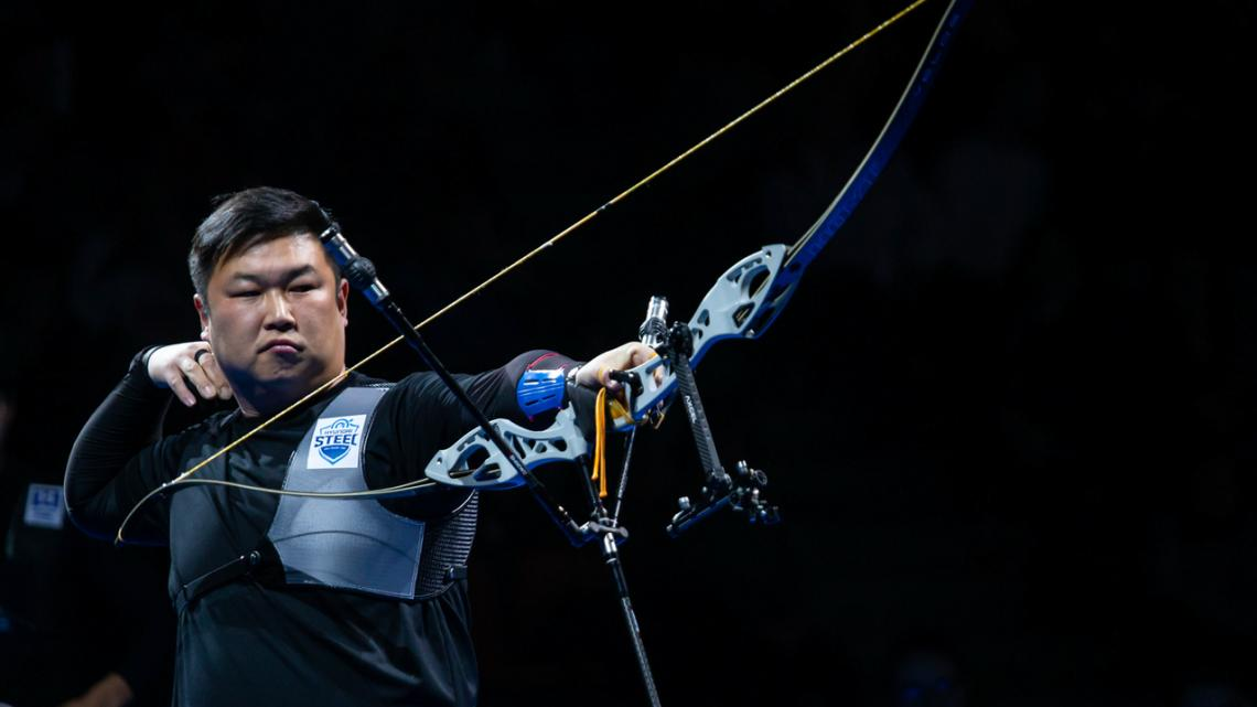 Oh Jin Hyek shoots during the Nimes Archery Tournament in 2019.