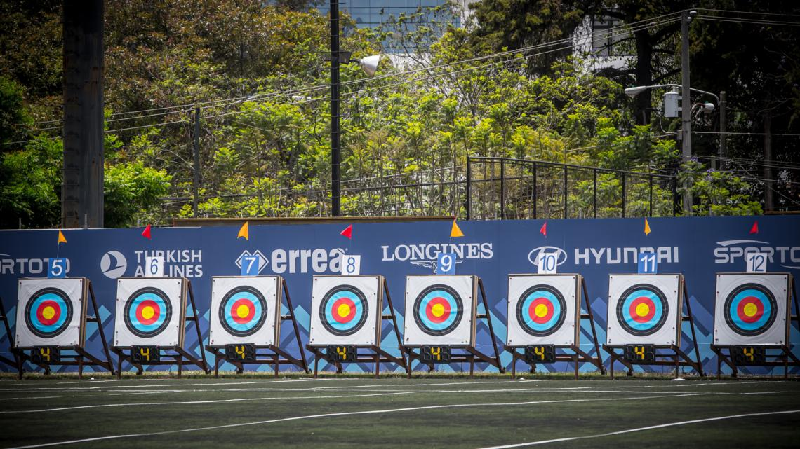 Targets during eliminations at the first stage of the 2021 Hyundai Archery World Cup in Guatemala City.
