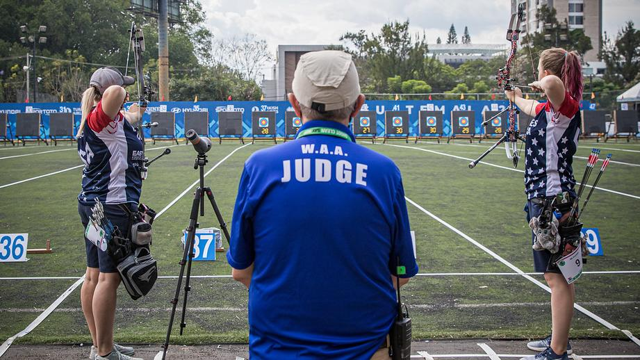 Savannah Vanderwier and Paige Pearce shoot in the quarterfinals of the first stage of the 2021 Hyundai Archery World Cup in Guatemala City.