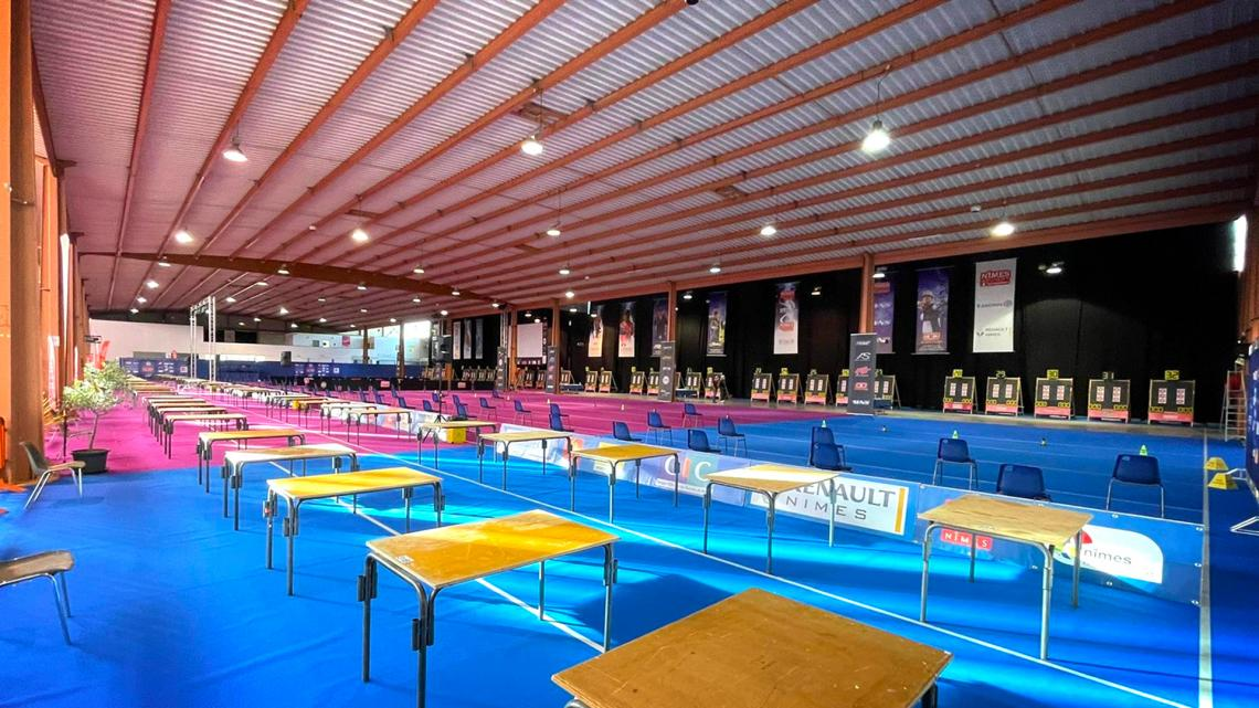 Competition hall at the Sud de France – Nimes Archery Tournament in 2021.