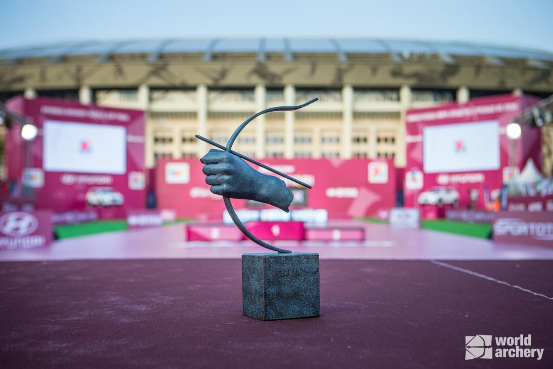 The circuit trophy at the 2019 Hyundai Archery World Cup Final in Moscow.