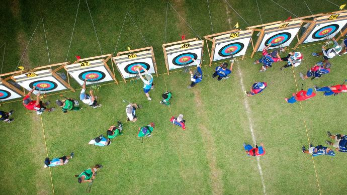 The target line during the Pan American Championships in 2019.