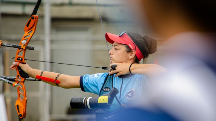An archer shoots during practice during the world ranking event in Medellin in 2021.