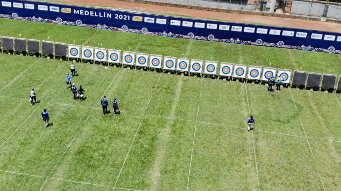The target line during the Junior Pan American Games qualifier at the world ranking event in Medellin in 2021.