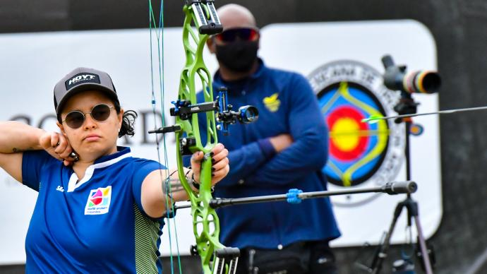 Nora Valdez shoots during the Pan American Championships in 2021.