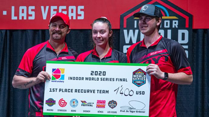 The Lancaster Archery Supply team collect its winning cheque at the Indoor Archery World Series Finals in 2020.
