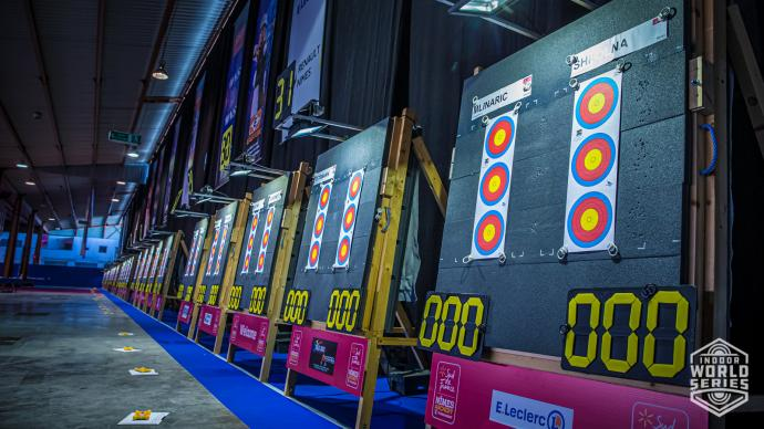 Targets at the Sud de France – Nimes Archery Tournament in 2021.