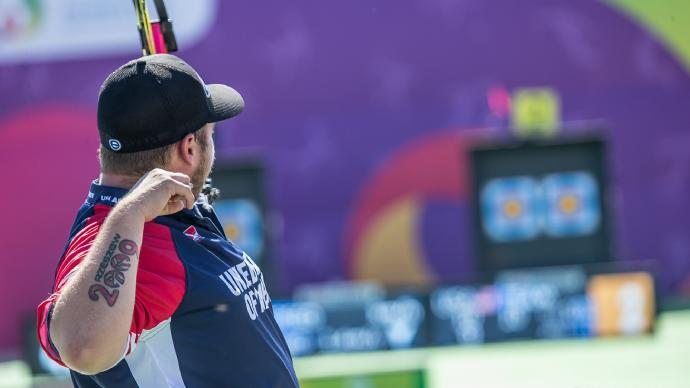 Kris Schaff shoots during the World Games in 2017.