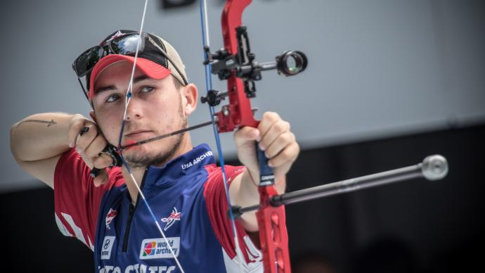 James Lutz shoots during the Hyundai World Archery Championships in 2019.