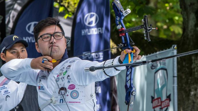 Kim Woojin shoots during finals at the Hyundai World Archery Championships in 2019.