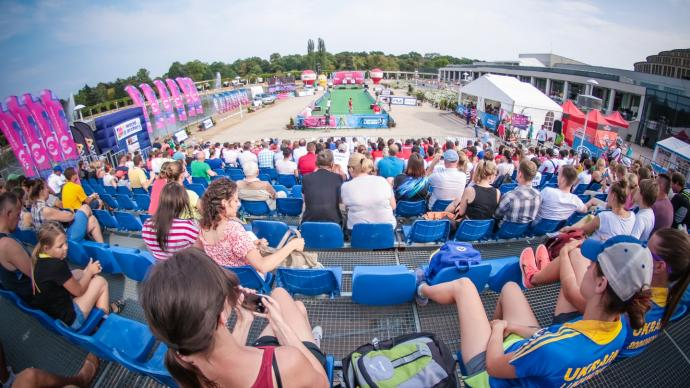The finals arena at the Hyundai Archery World Cup stage in Wroclaw in 2015.