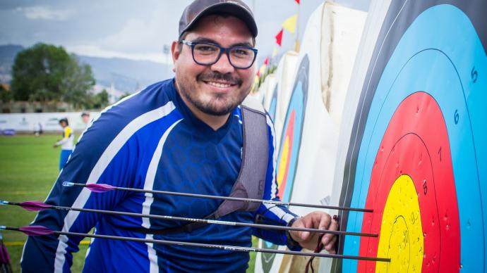 Oscar Ticas smiles during the Americas qualification event for the Rio 2016 Olympic Games held in Medellin.
