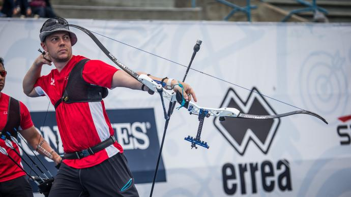 The recurve men's team final at the first stage of the 2019 Hyundai Archery World Cup in Medellin, Colombia.