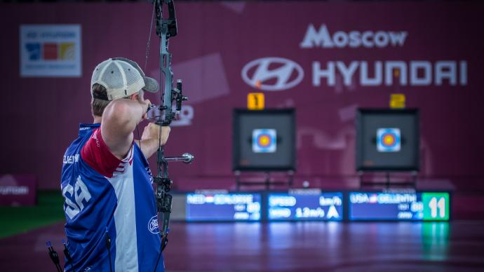 Braden Gellenthien shoots during the 2021 Hyundai Archery World Cup Final in Moscow.