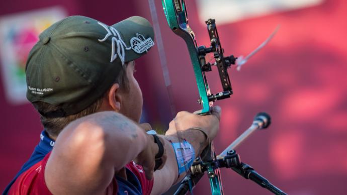 Brady Ellison lets an arrow fly during the Hyundai Archery World Cup Final in 2019.
