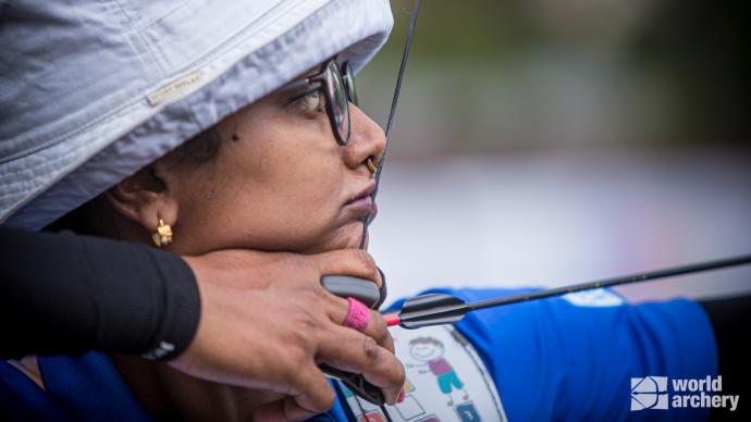 Deepika Kumari shoots during the first stage of the 2021 Hyundai Archery World Cup in Guatemala City.