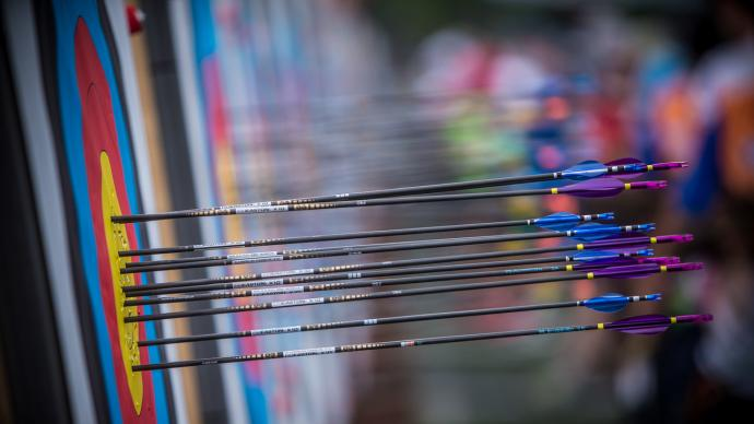 Arrows in the target at the first stage of the 2021 Hyundai Archery World Cup in Guatemala City.