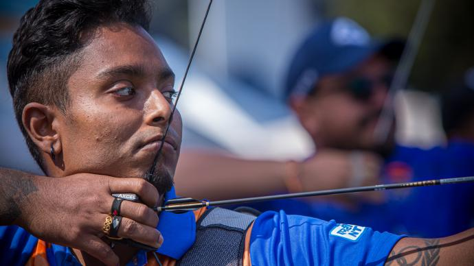Atanu Das shoots during eliminations at the first stage of the 2021 Hyundai Archery World Cup in Guatemala City.