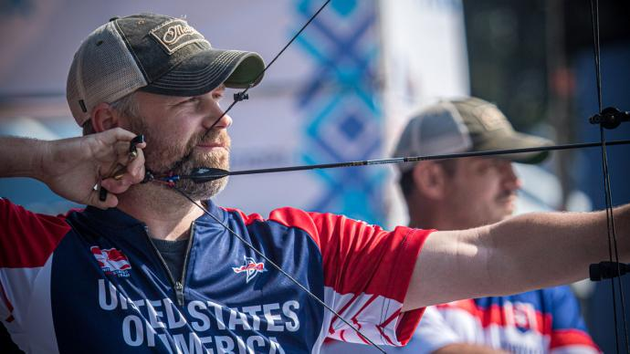 Braden Gellenthien shoots during finals at the first stage of the 2021 Hyundai Archery World Cup in Guatemala City.