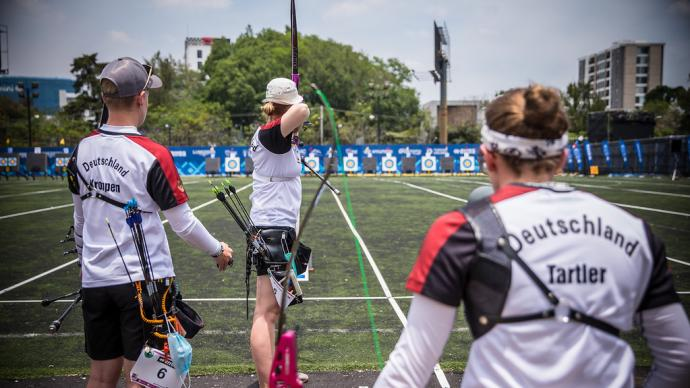 The German recurve women's team shoots during the first stage of the 2021 Hyundai Archery World Cup in Guatemala City.