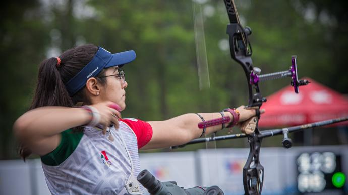 Ana Vazquez shoots during qualification at the first stage of the 2021 Hyundai Archery World up in Guatemala City.