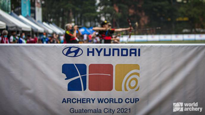 Branding at the first stage of the 2021 Hyundai Archery World Cup in Guatemala City.