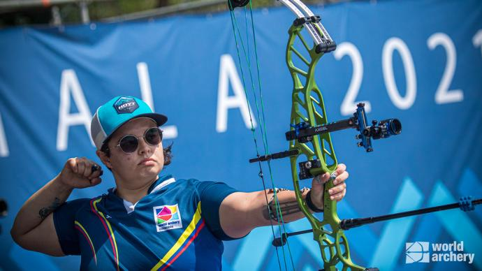 Nora Valdez shoots in the compound women's final at the first stage of the 2021 Hyundai Archery World Cup in Guatemala City.