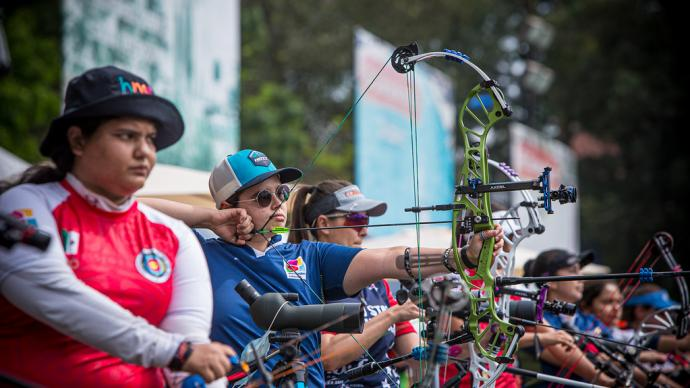 Nora Valdez shoots during eliminations at the first stage of the 2021 Hyundai Archery World Cup in Guatemala City.