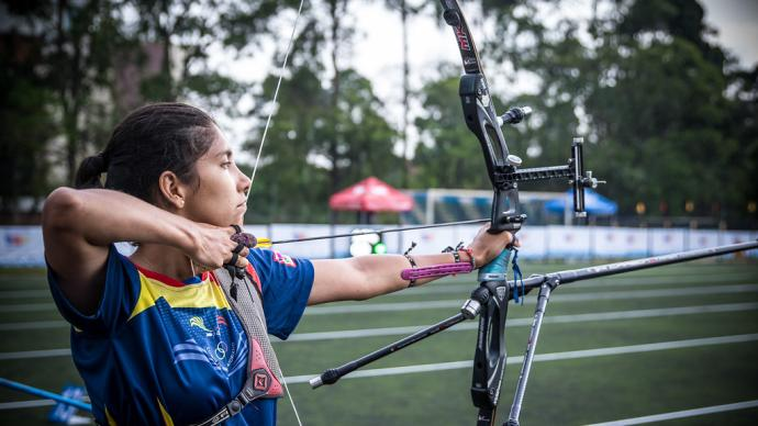Adriana Espinosa de los Monteros shoots during practice at the first stage of the 2021 Hyundai Archery World Cup in Guatemala City.