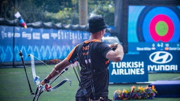 Steve Wijler shoots during the first stage of the 2021 Hyundai Archery World Cup in Guatemala City.