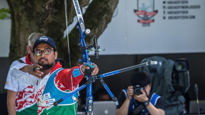Ruman Shana shoots during the bronze medal match at the Hyundai World Archery Championships in 2019.