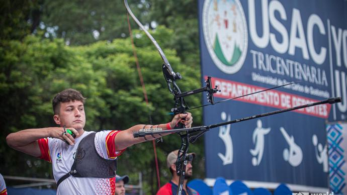 Daniel Castro shoots during finals at the first stage of the 2021 Hyundai Archery World Cup in Guatemala City.